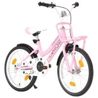 vidaXL Kids Bike with Front Carrier 18 inch Pink and Black
