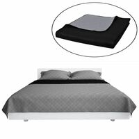 Double-sided Quilted Bedspread Black/Grey 170 x 210 cm