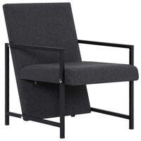 vidaXL Armchair with Chrome Feet Dark Grey Fabric