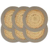 vidaXL Placemats 6 pcs Natural and Grey 38 cm Jute and Cotton