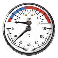 63mm 6 Bar 120C Thermo Pressure Gauge 1/2 Inch Rear Entry Manometer
