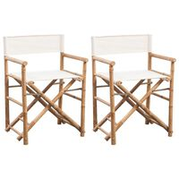 vidaXL Folding Director's Chair 2 pcs Bamboo and Canvas