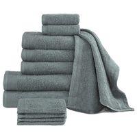 vidaXL 12 Piece Towel Set Cotton 450 gsm Green