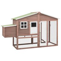 vidaXL Chicken Coop with Nest Box Mocha and White Solid Fir Wood