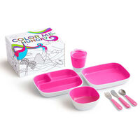 Munchkin 7 Piece Table Dining Set Color Me Hungry Pink