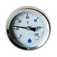 1/2 Inch Industrial Gauge 120C Metal Rear Entry Thermometer