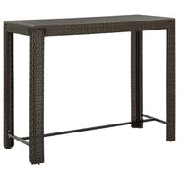 vidaXL Garden Bar Table Brown 140.5x60.5x110.5 cm Poly Rattan