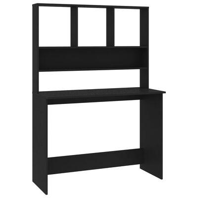 Vidaxl Desk With Shelves Black, Black Desk With Shelves