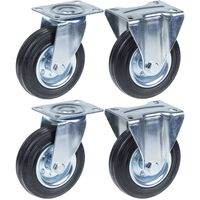 """125mm 5"""" castor rubber tyre, swivel & fixed, strong 480kg capacity,"""