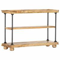 vidaXL 2-Tier Bookshelf 110x35x75 cm Solid Mango Wood and Steel