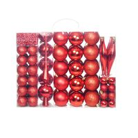 vidaXL 113 Piece Christmas Ball Set 6 cm Red