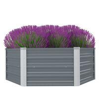 vidaXL Raised Garden Bed 129x129x46 cm Galvanised Steel Grey