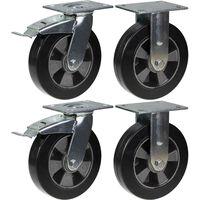 """200mm 8"""" castor black rubber brake & fixed strong 1800kg capacity, set"""