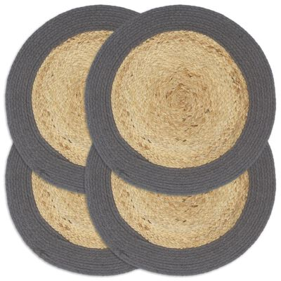 vidaXL Placemats 4 pcs Natural and Anthracite 38 cm Jute and Cotton