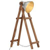 vidaXL Floor Lamp Silver E27 Solid Mango Wood