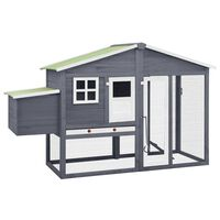 vidaXL Chicken Coop with Nest Box Grey and White Solid Fir Wood