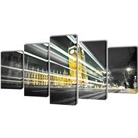 Canvas Wall Print Set London Big Ben 100 x 50 cm