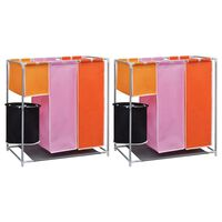 vidaXL 3-Section Laundry Sorter Hampers 2 pcs with a Washing Bin