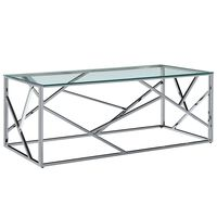 vidaXL Coffee Table Transparent 120x60x40 cm Tempered Glass and Stainless Steel