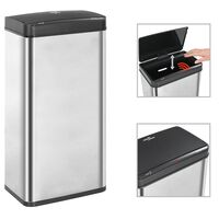 vidaXL Automatic Sensor Dustbin Silver and Black Stainless Steel 80 L