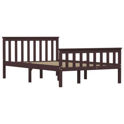 vidaXL Bed Frame Dark Brown Solid Pinewood 120 x 190 cm