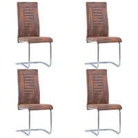vidaXL Cantilever Dining Chairs 4 pcs Brown Faux Suede Leather