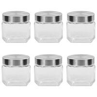 vidaXL Storage Jars with Silver Lid 6 pcs 800 ml