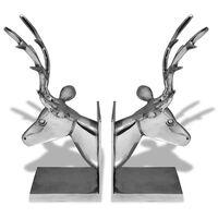 vidaXL Bookends Deer 2 pcs Aluminium Silver