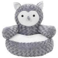 vidaXL Owl Cuddly Toy Plush Grey