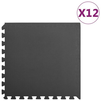 vidaXL Floor Mats 12 pcs 4.32 ㎡ EVA Foam Black