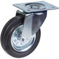 """160mm 6"""" castor rubber tyre, swivel, strong 150kg capacity"""