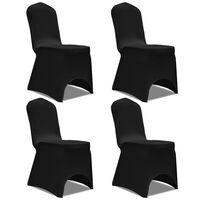 vidaXL Stretch Chair Cover 4 pcs Black