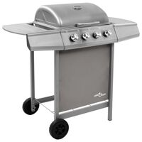 vidaXL Gas BBQ Grill with 4 Burners Silver