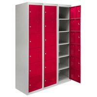 Monster Racking Metal Storage Lockers Flatpack, 3 x 6 Doors - Red