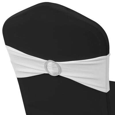25 pcs White Stretchable Decorative Chair Band with Diamond Buckle