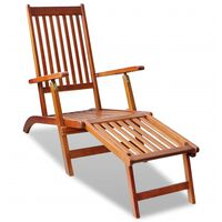 vidaXL Outdoor Deck Chair with Footrest Solid Acacia Wood