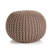 vidaXL Hand-Knitted Pouffe Cotton 50x35 cm Brown