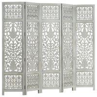 vidaXL Hand Carved 5-Panel Room Divider Grey 200x165 cm Solid Mango Wood