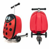 Doodle 3 Wheels Luggage Scooter Suitcase For Traveling, Ladybird