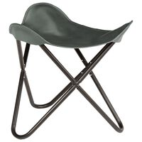 vidaXL Butterfly Stool Grey Real Leather