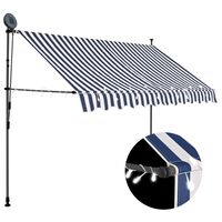 vidaXL Manual Retractable Awning with LED 300 cm Blue and White