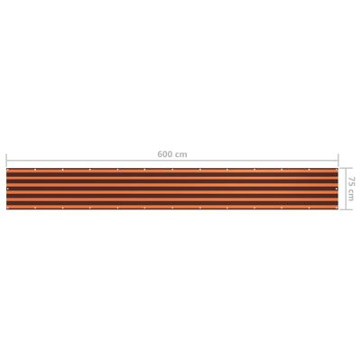 vidaXL Balcony Screen Orange and Brown 75x600 cm Oxford Fabric