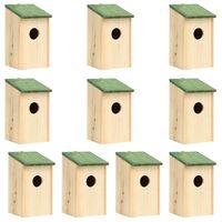 vidaXL Bird Houses 10 pcs Solid Firwood 12x12x22 cm