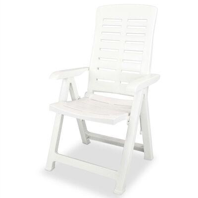 vidaXL Reclining Garden Chairs 4 pcs Plastic White