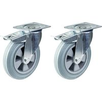 """200mm 8"""" castor grey rubber swivel with brake strong 410kg capacity,"""