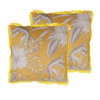Set Of 2 Fringed Cushions Monkey Print 45 X 45 Cm Yellow Manju