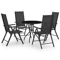 vidaXL 5 Piece Garden Dining Set Aluminium and Textilene Black