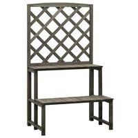 vidaXL Trellis Planter with Shelves Grey 70x42x120 cm Solid Firwood