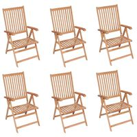 vidaXL Reclining Garden Chairs 6 pcs Solid Teak Wood