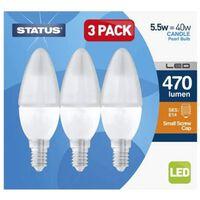 Status Led Edison Screw Cap Candle Bulbs 5.5w 470 Lumen 3pk